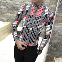 Discount new fashion hairstyles - Fashion Male Hairstyle Shirt Camisa Masculina New Pattern Printing Male Long Sleeve Shirt Kemeja Pria Solid Color 2019 S