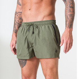 White Workout Shorts Australia - Shorts Men Summer Beachwear Army Green Quick Dry Breathable Drawstring Pocket Sports Fitness Gym Workout Short Pants Sportswear