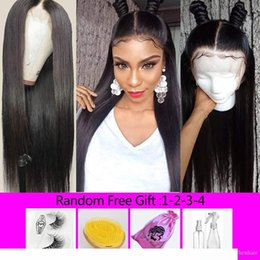 lace front hairstyles Canada - A Brazilian Virgin Hair Straight Lace Front Human Hair Wigs Pre Plucked With Baby Hair Natural Hairstyles Bleached Knots Lace Front Wig