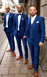 $enCountryForm.capitalKeyWord Australia - Wedding Tuxedos Two-Button Groom Suit Set Groomsman Suit Blue Wedding Party Suit (Jacket+Pants+Vest) Custom Made For Evening party