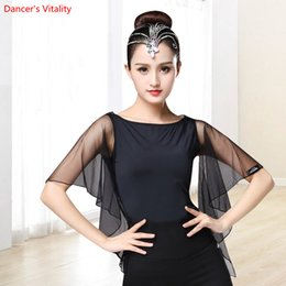 Samba clothing online shopping - 2018 New Latin Dance Tops Fashion Adult Gauze Practice Clothes Women Girls Ballroom Waltz Samba Dance Stage Competition Costumes