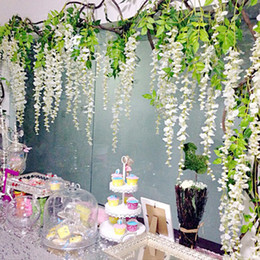 Discount wisteria tree flowers silk wisteria white artificial flowers vine ivy plant fake tree garland hanging flower wedding decor for hotel home deco