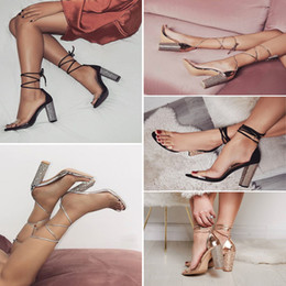 fashion sandals wholesale NZ - Fashion Woman Sexy Peep Toe Stiletto High Heel Shoes Sandals Party Dress Gold Silver Wedding Shoes Female Lace Up Crystal Sandal