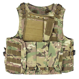 TacTical vesT green online shopping - Tactical Vest Assault Plate carrier Multicam Army Molle Mag Ammo Chest Rig Paintball Body Armor Harness