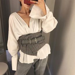 $enCountryForm.capitalKeyWord NZ - Fashion Ladies Vintage Check Style Waist Super Wide Fabric Adjustable Shirt Slimming Corset Cummerbund Girdle Belt Women C19010301