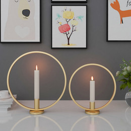 metal iron holder Canada - Candle Holder Ring Shape Metal Iron Decorative Candlestick For Party Wedding Dining Centerpiece Table Ornaments Home Decor