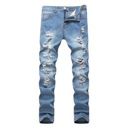 голубые брюки мужчины оптовых-2019 Spring New Men Ripped Jeans Slim Fit Sky Blue Multiple Hole Denim Hip Hop Casual Male Destroyed Trousers Button Pants