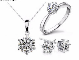 $enCountryForm.capitalKeyWord Australia - Embellished with crystals from Swarovski Necklace Earrings Set Woman Clover Heart Pendant Necklace Stud Earring Jewelry Sets