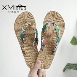 $enCountryForm.capitalKeyWord Australia - New Hot Classic Style Hot Sales in Summer Day Beach Side Flip Flop Woman lady Love Holiday Slippers Ramie Sole Flat Slippers Fashion Shoes