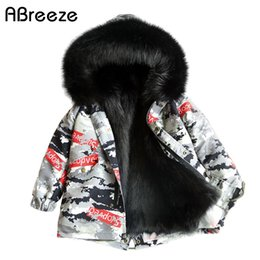Wholesale 2019 New camouflage style little child trench girls Y faux outerwear coats for girls fashion warm children fur clothes