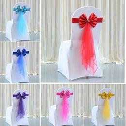 $enCountryForm.capitalKeyWord Australia - Chair Back Decoration Wedding Party Banquet Chair Stretch No-tie Ribbon Cover Silk Leather + Mesh Yarn Strap