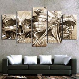 Bedroom Painting Portraits Australia - 5 Piece Canvas Printed Decoration Wall Art Indian Portrait Painting Unframed Modular Wall Pictures For Bedroom Home Wall Decor