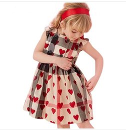 Baby Girl Tutu Dress Love UK - Girls Dress Cotton Love Pattern Ruffles Sleeve Plaid Princess Baby Costume Children Clothes Girls Dresses Fashion children dress