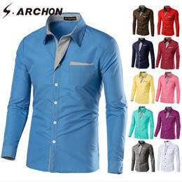 Men Slim Fit Fashion Shirts NZ - S.ARCHON Long Sleeve Trend Shirt Men Casual Spring Autumn Cotton Fashion Shirts Slim Fit Turn-down Collar Business Shirt Men