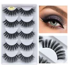 Natural Strip Eyelashes NZ - 5 pairs eyelashes 3d mink lashes natural long 1 box mink eyelashes 3d false eyelashes full strip lashes Support wholesale