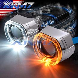 $enCountryForm.capitalKeyWord UK - HID Bixenon Lens Projector Dual Color Square Angel Eyes Halo Turn Signal Switchback DRL H1 H4 H7 Car Headlight Headlamp Retrofit