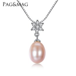 Pearl Necklaces Pendants NZ - PAG&MAG Brand 8-9mm Tear Drop Genuine Pearl Necklace Vintage 925 Silver White and Pink Purple Freshwater Pearl Wedding Pendant