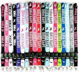 lotto 20pcs del cellulare cordicella Funi abbigliamento Keys catena carte d'identità scomparto mobile Fibbia VS Love Pink Cordini L001 in Offerta