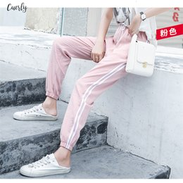 pink harem trousers UK - Women Summer Ankle Length Leisure Pants Bottoms Female Side Striped Pants Sweatpants Sportswear Patchwork Harem Pants Loose Trousers