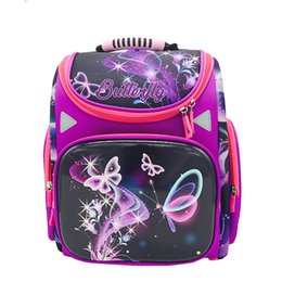 Purple Book NZ - 2018 NEW arrived Girl School Bag Orthopedic Backpack for Children purple Butterfly Prints High Quality Waterproof nylon book Bag