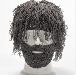 free handmade wigs Australia - Hot sale! Winter Men and Women Creative Knitting Caps Halloween Party Funny Handmade Wool Beard Wig Hats Wholesales