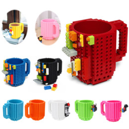 kids blocks wholesale Australia - DIY 350ml Creative Coffee Mug Travel Cup Kids Adult Cutlery Building Blocks Mug Drink Mixing Cup Dinnerware Set for Child Gift
