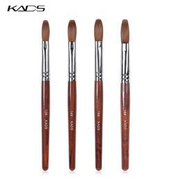 Kolinsky Nail Art Brushes UK - Acrylic Nail Art Brush 100% Kolinsky Sable Pen Red Wood Round Flat Acrylic Brush for Nail Art for Gel Builder Tool
