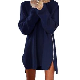 $enCountryForm.capitalKeyWord Australia - Fashion Women Long Sleeve Autumn Knitted Zippers Side Jumper Sweater Dress Loose Tunic Baggy Dresses HO931626