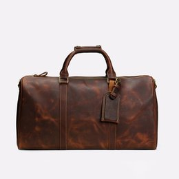 Leather Sport Bags Men Australia - 2019 new fashion men women travel bag duffle bag, leather luggage handbags large capacity sport bag 54CM