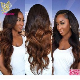 tone color 14 hair NZ - Brazilian Hair Ombre Lace Front Human Hair Wig Body Wave Unprocessed Human Hair Full Lace Wig Two Tone Color Glueless Lace Wig