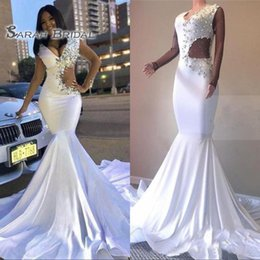 $enCountryForm.capitalKeyWord Australia - 2020 White Sexy Mermaid Prom Dresses Plus Size Long Pageant Dress Crystals Celebrity Evening Gown Formal Wedding Party Wear Illusion Sleeve
