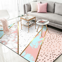 Metal Area Australia - Modern Metal Golden Striped Carpets and Rugs Pink Abstract Geometric Living Room Bedroom Home Decor Area Rugs Non-Slip Floor Mat