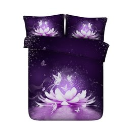 3d Bedding Set White Rose UK - Purple Lotus Flower Bedspread Duvet Covers Butterfly Bedding Sets Asian Floral Star Galaxy Bed Cover Pink Blue White Coverlet 3 Piece Bed
