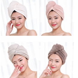 Wholesale Magic Microfiber Hair Fast Drying Dryer Towel Bath Wrap Hat Quick Shower Cap Turban Towel Dry 4styles RRA2239