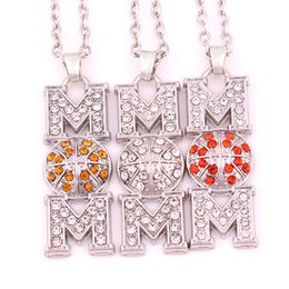 $enCountryForm.capitalKeyWord NZ - HS07 Mother's Day Gift zinc alloy rhodium plated Basketball Mom Pave clear Crystal Pendant chain necklace