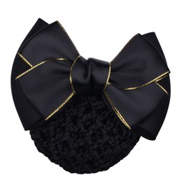 wholesale hair nets Australia - Popular Bow Barrette Hair Clip Net Cover Bowknot Net Bun Snood Hairpin Hairgrips Hair Ornaments Accessories For Woman Girl
