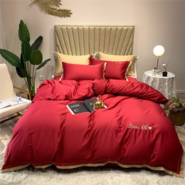 Black Egyptian Cotton Bedding Australia - New Egyptian cotton Bedding Set Classic embroidery Comforter Cover Flat Sheet Set Pillowcases Queen King size 4pcs