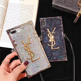 Wholesale One Piece Luxury Diamond Glitter Bling Designer Phone Cases for IPhone X s Plus XR XS MAX Brand Back Cover with Long Lanyard for Gifts