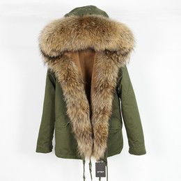 raccoon hooded parka UK - OFTBUY 2020 Casual green winter jacket women parka real fur coat big natural raccoon fur collar hooded parkas warm outerwear