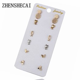 China Sliver Gold Color Stud Earrings Cat Star Pineapple Butterfly Fish Vintage Earring Set For Women Jewelry Oorbellen e0203 suppliers