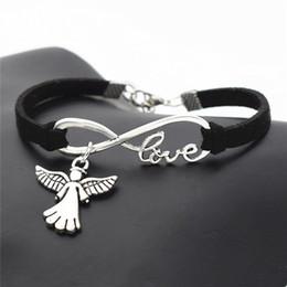 Angel Bracelets Wholesale Australia - Infinity Love Cute Wings Angel Bracelets & Bangles Black Leather Suede Jewelry Gifts Charm Bileklik Pulseiras Boyfriend Girlfriend Pulseira