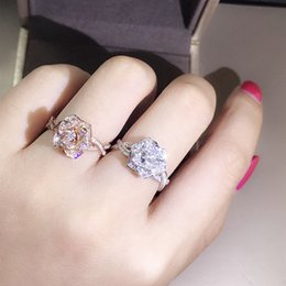 Wholesale Rose gold Silver color Shiny CZ Flower ring High quality AAA Crystal cute girls finger rings size Wedding jewelry Bague