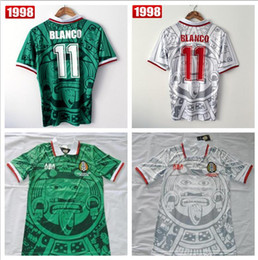 mexico jersey red 2019 - Best Thailand Quality Retro Version 1998 Mexico World Cup Classic Vintage Mexico retro jerseys Home Green HERNANDEZ BLAN
