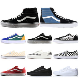 137e035f41 Designer Vans men women Canvas Shoes Old Skool Authentic Sk8-Hi Fear of God Classic  Slip-on Triple White Black Skate Casual Shoes 36-44