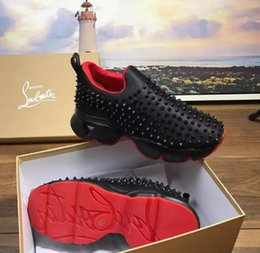 Wholesale CL Brand Luxurious Red Bottom Men Women Casual Spikes Rivets Rhinestone Shoes Dress Party Walking Shoes Sneakers Chaussures De Sport