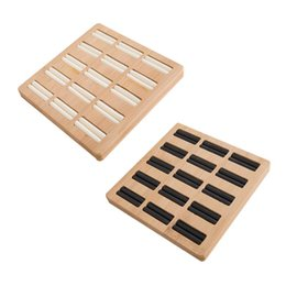 display trays for jewelry UK - Square Shape Jewelry Tray Simple Finger Ring Display Rack Solid Wood Ring Display Rack Jewelry Organizer for Store Shop
