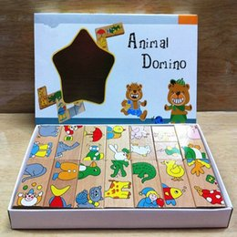 wooden domino puzzle NZ - Wooden Animal Puzzles Domino Toy, 15PCS Cartoon Animals Matching Domino, KIDS Learning and Education of Baby Bricks Toy
