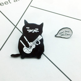 Discount dog guitar Cat holding guitar ukulele Your dog has fleas brooch cartoon creative accessories gift for Girl Boy fashion backpack Pen
