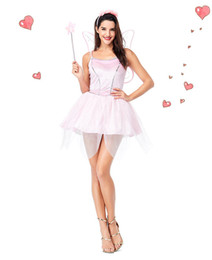 $enCountryForm.capitalKeyWord UK - Shiny Sequin Pink Elf Dress With Butterfly Wings Flower Fairy Princess Queen Cosplay Costume Adult Female Girl Halloween Clothes