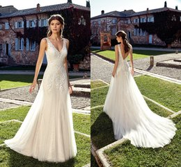 Cheap wedding dresses Custom made online shopping - Summer Beach Ivory Lace Wedding Dresses Deep V Neck Lace Top A Line Tulle Sexy Backless Wedding Bridal Gowns Cheap Custom Made